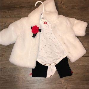0-3 months faux fur outfit set *NEW